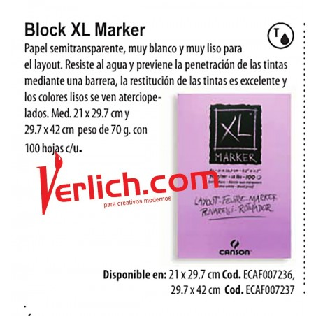 Block Canson Marker XL Layout 21 x 29.7 c/100 hojas 70 grs.