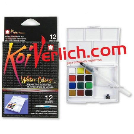 Acuarela Koi Sketch Box con 12 pastillas y pincel