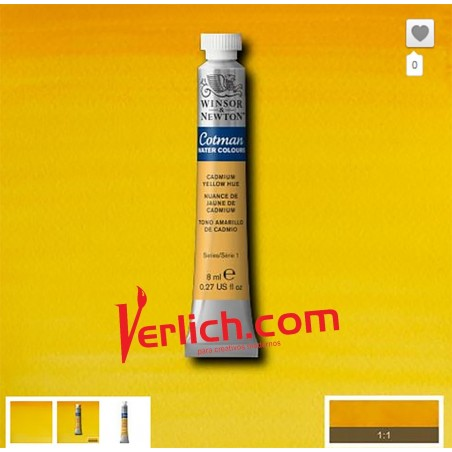 Acuarela Cotman Amarillo Cadmio (Cadmium Yellow hue) 109 W&N 8 ml.