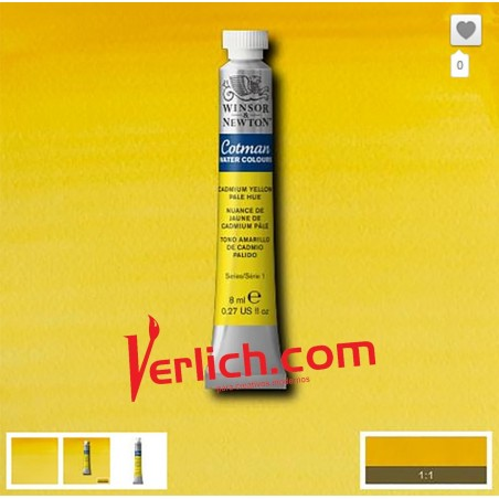 Acuarela Cotman Amarillo Cadmio Claro (Cadmium Yellow hue pale) 119 W&N 8 ml.