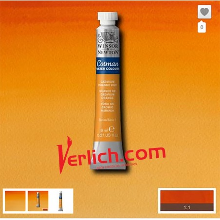 Acuarela Cotman Naranja Cadmio (Cadmium Orange hue) 090 W&N 8 ml.
