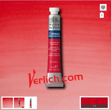 Acuarela Cotman Rojo Cadmio (Cadmium red hue) 095 W&N 8 ml.