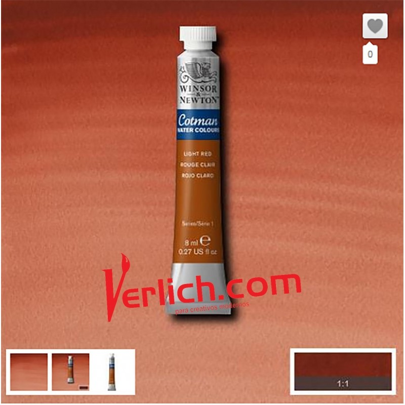 Acuarela Cotman Rojo Claro (Light Red) 362 W&N 8 ml.
