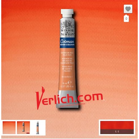 Acuarela Cotman Rojo Cadmio Claro (Cadmium Red pale hue) 103 W&N 8 ml.