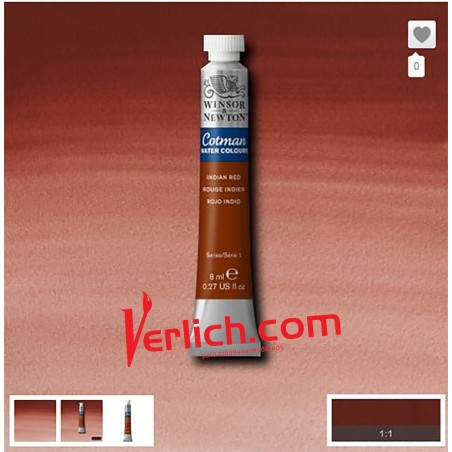 Acuarela Cotman Rojo Indio (Indian Red) 317 W&N 8 ml.