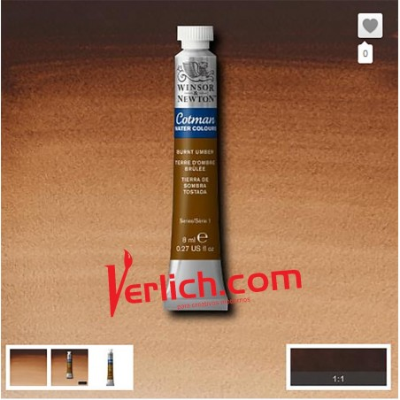 Acuarela Cotman Sombra Tostada (Burnt umber) 076 W&N 8 ml.
