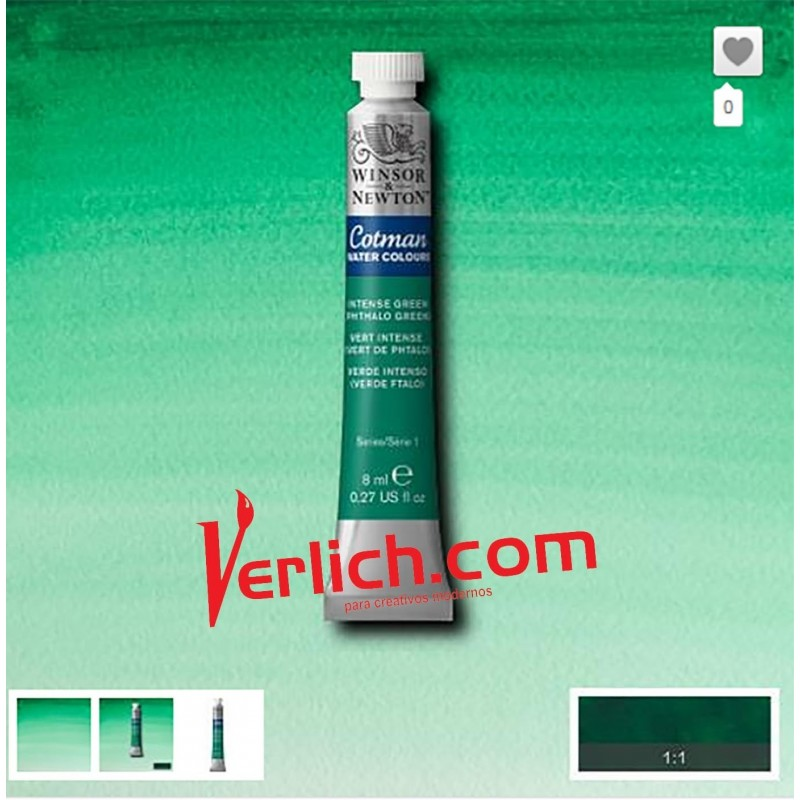 Acuarela Cotman Verde Intenso (Intense Green) 329 W&N 8 ml.