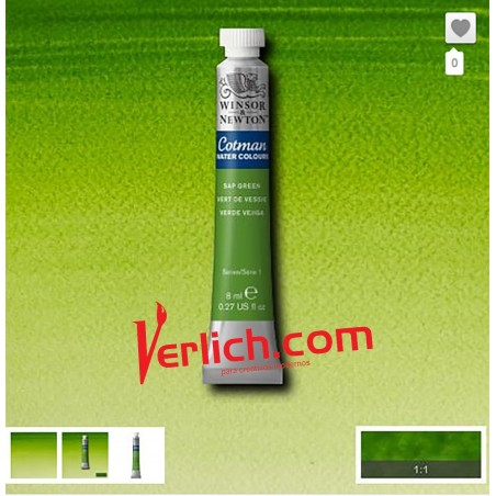 Acuarela Cotman Verde Sapo (Sap Green) 599 W&N 8 ml.